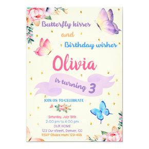 Butterfly birthday invitation Butterfly kisses