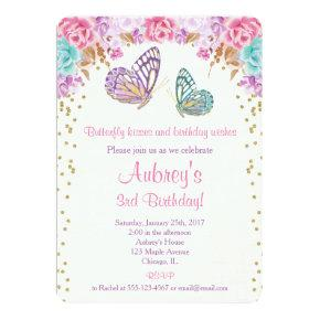 Butterfly birthday invitation, pink purple gold invitation