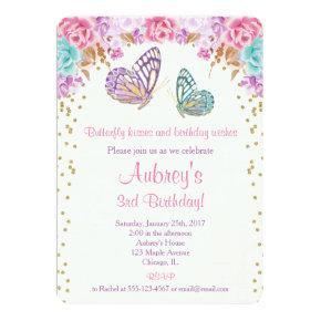 Butterfly birthday Invitations, pink purple gold Invitations