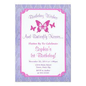 Butterfly Birthday Invitation Purple 1st Birthday