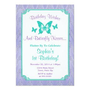 Butterfly Birthday Invitations Purple Teal
