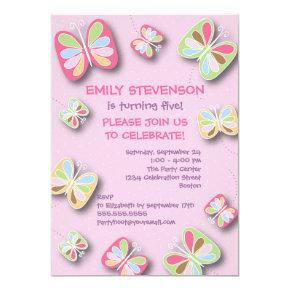 Butterfly Birthday Party Invitation Pink Purple