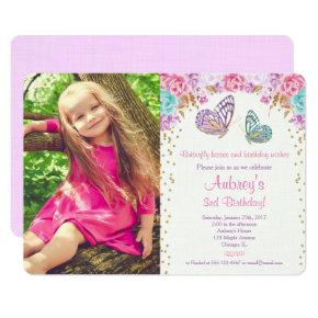 Butterfly birthday pink gold purple photo invitation