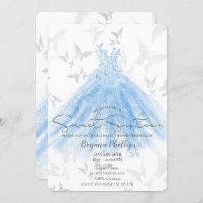 Butterfly Dance Blue Sparkle Dress Sweet 16 Party Invitation
