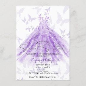 Butterfly Dance Purple Dress Sweet 16 Party Invitation