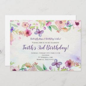 Butterfly Floral Watercolor Birthday Invitation