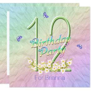 Butterfly Garden 12th Birthday Party Invitation Candied Clouds