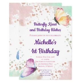 Butterfly Girl First 1st Birthday Invitation