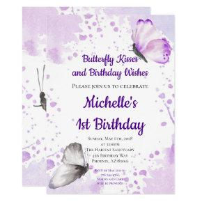 Butterfly Invitation First 1st Birthday Purple
