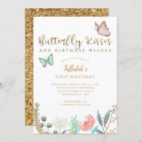 Butterfly Kisses and Birthday Wishes Gold Floral Invitation