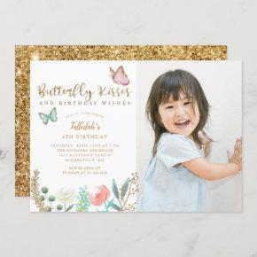 Butterfly Kisses Birthday Wishes Photo Party Invitation