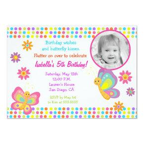 Butterfly Photo Birthday Invitation