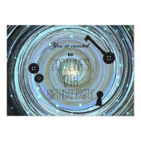 Button Eyes & Skeleton Key Other World Party Invitation