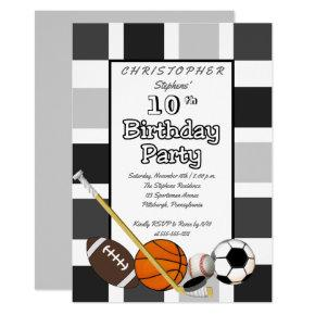 BW Color Block All Star Sports Birthday Party Invitations