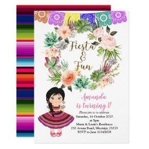 Cactus Fiesta Birthday Floral Mexico Invitation