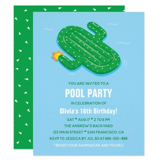 Cactus Float Summer Birthday Party Invitations