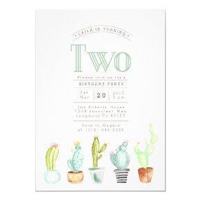 Cactus Garden | Watercolor First Birthday Invite