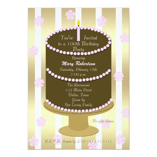 cake 100th birthday party invitations in pink candied clouds