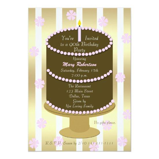 cake 90th birthday party invitations 90th in pink candied clouds