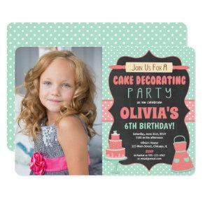 Cake decorating cupcake birthday party photo invitation
