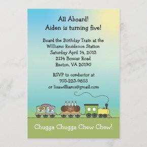 Cake & Ice Cream Birthday Train - size Invitation