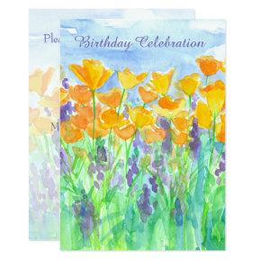 California Poppy 80th Birthday Party Invitation
