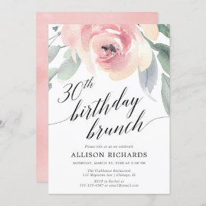 Calligraphy blush floral 30th birthday brunch invitation