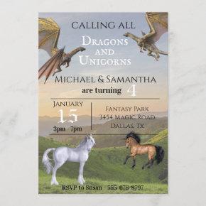 Calling all Dragons Unicorns Twin Party Birthday Invitation