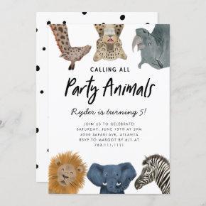 Calling All Party Animals Safari Zoo Birthday Invitation