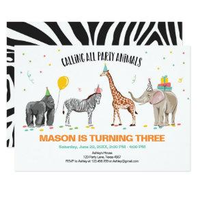 Calling All Party Animals Zoo Wild Boy Birthday Invitation