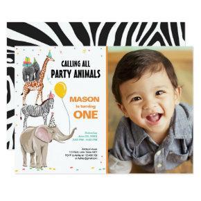 Calling All Party Animals Zoo Wild Boy Birthday Invitation