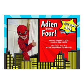 Calling All Superheros Superhero Theme Blue Red Invitation