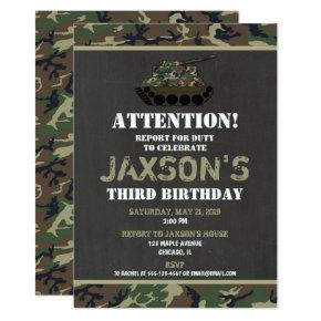 Camo Army Camouflage birthday invitation