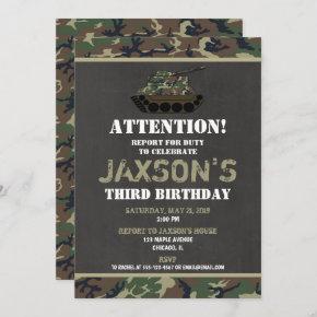 Camo Army Camouflage birthday invitation