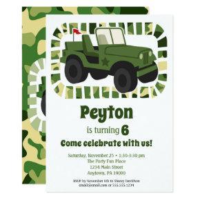 Camo Army Military Boys Birthday Party Invitations