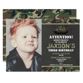 Camo Army tank Camouflage birthday photo Invitation