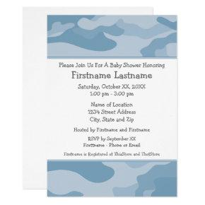 Camo Baby Shower or Party - light blue Invitation