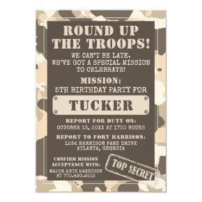 Camo Birthday Party Invitation, Army, Mission Invitation