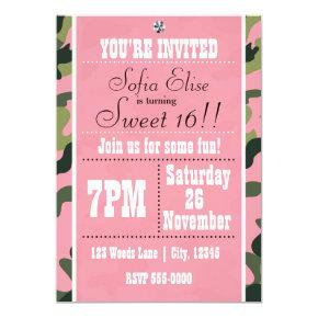 Camo Camouflage & Pink Birthday Party Invitations