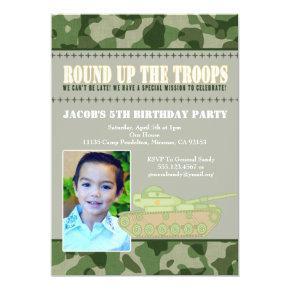 Camo Green Army Men Birthday Party Invitations