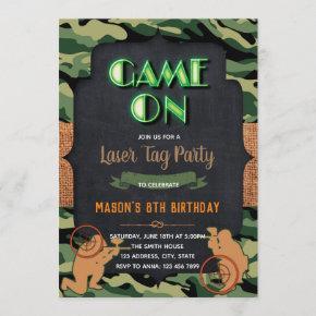 Camo Laser Tag birthday party invitation