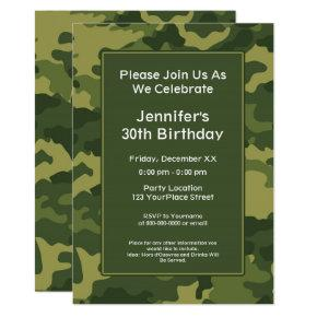Camo Military Theme Birthday Party Invitation