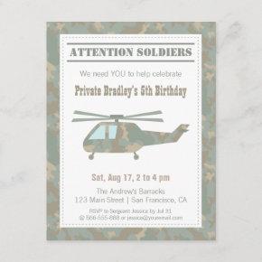 Camo Print Helicopter Army Boys Birthday Party Invitation