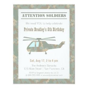 Camo Print Helicopter Army Boys Birthday Party Invitation