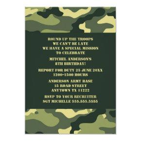 Camouflage Birthday Party Invite - Realistic camo