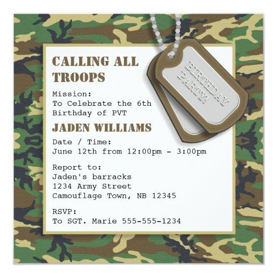 Camouflage Camo Birthday Party With Dog Tags Card Candied Clouds