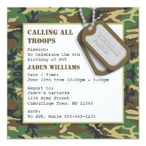 Camouflage / Camo Birthday Party with Dog Tags Invitations