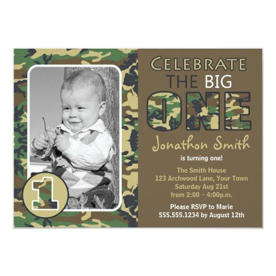 Camouflage Camo Theme First Birthday Card Candied Clouds