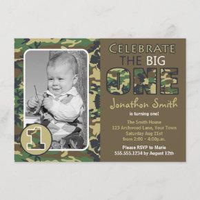 Camouflage / Camo Theme First Birthday Invitation