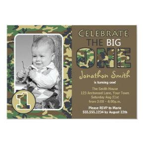 Camouflage / Camo Theme First Birthday Invitation